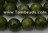CGJ464 15.5 inches 12mm faceted round green jasper beads wholesale