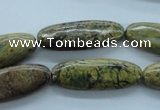 CGJ66 15.5 inches 10*28mm oval green line jasper beads wholesale