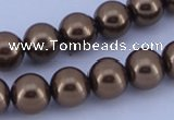 CGL104 10PCS 16 inches 8mm round dyed glass pearl beads wholesale