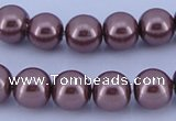 CGL127 5PCS 16 inches 14mm round dyed glass pearl beads wholesale