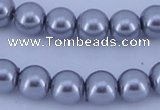 CGL196 5PCS 16 inches 12mm round dyed glass pearl beads wholesale