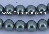CGL212 10PCS 16 inches 4mm round dyed glass pearl beads wholesale