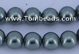 CGL217 5PCS 16 inches 14mm round dyed glass pearl beads wholesale