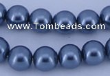 CGL233 10PCS 16 inches 6mm round dyed glass pearl beads wholesale