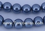 CGL237 5PCS 16 inches 14mm round dyed glass pearl beads wholesale