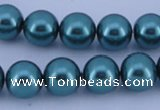 CGL244 10PCS 16 inches 8mm round dyed glass pearl beads wholesale