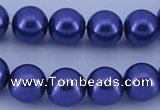 CGL268 5PCS 16 inches 16mm round dyed glass pearl beads wholesale