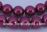 CGL318 5PCS 16 inches 16mm round dyed glass pearl beads wholesale