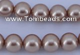 CGL357 5PCS 16 inches 14mm round dyed glass pearl beads wholesale