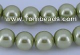 CGL368 5PCS 16 inches 16mm round dyed glass pearl beads wholesale
