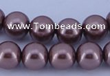 CGL396 5PCS 16 inches 12mm round dyed glass pearl beads wholesale