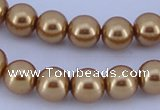 CGL65 5PCS 16 inches 10mm round dyed glass pearl beads wholesale