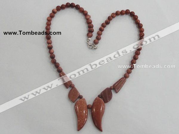 CGN14 18.5 inches round & leaf goldstone beads necklaces
