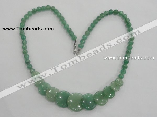 CGN19 18.5 inches round & flat round green aventurine beads necklaces
