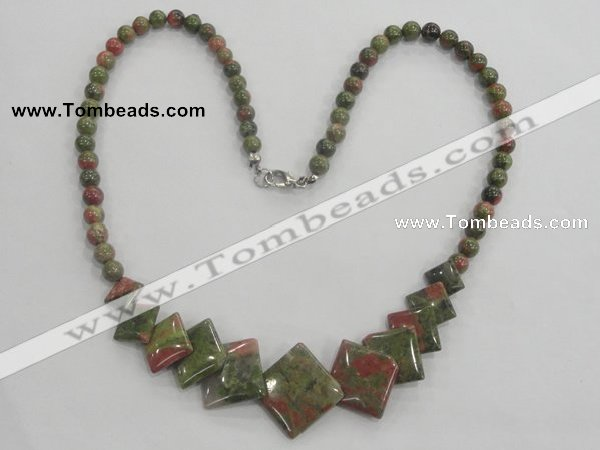 CGN24 18.5 inches round & diamond unakite gemstone beads necklaces