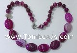 CGN253 20.5 inches 8mm round & 18*25mm oval agate necklaces