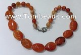 CGN254 20.5 inches 8mm round & 18*25mm oval agate necklaces