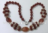 CGN293 24.5 inches chinese crystal & red agate beaded necklaces