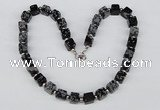 CGN30 18.5 inches 10*10mm cube snowflake obsidian gemstone necklaces
