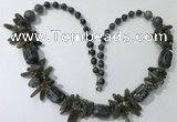 CGN314 27.5 inches chinese crystal & labradorite beaded necklaces