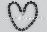 CGN35 18.5 inches 10*10mm cube black labradorite gemstone necklaces
