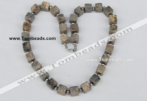 CGN36 18.5 inches 10*10mm cube jasper gemstone necklace jewelry