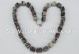 CGN39 18.5 inches 10*10mm cube black water jasper gemstone necklaces