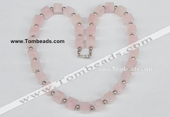 CGN41 18.5 inches 10*10mm cube rose quartz gemstone necklaces