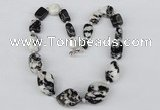 CGN46 18.5 inches 10*12mm � 20*30mm nuggets zebra jasper necklaces