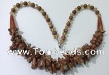 CGN464 22 inches chinese crystal & goldstone beaded necklaces
