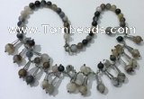CGN495 21 inches chinese crystal & striped agate beaded necklaces