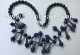 CGN505 21 inches chinese crystal & lapis lazuli beaded necklaces