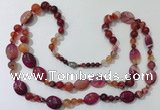 CGN585 23.5 inches striped agate gemstone beaded necklaces