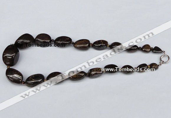 CGN64 18.5 inches 12*14mm � 22*34mm nuggets bronzite gemstone necklaces