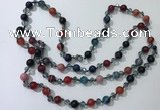 CGN661 22 inches chinese crystal & striped agate beaded necklaces