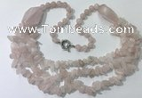 CGN670 22 inches stylish rose quartz beaded necklaces wholesale