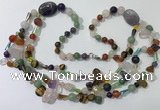 CGN681 23.5 inches chinese crystal & mixed gemstone beaded necklaces