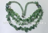 CGN699 22.5 inches chinese crystal & green aventurine beaded necklaces