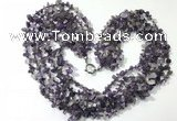 CGN721 19.5 inches stylish 6 rows amethyst chips necklaces