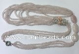 CGN845 30 inches trendy rose quartz long beaded necklaces