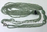 CGN846 30 inches trendy green aventurine long beaded necklaces