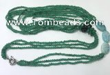 CGN847 30 inches trendy green agate long beaded necklaces
