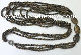 CGN854 30 inches trendy yellow tiger eye long beaded necklaces