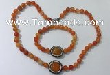 CGN873 19.5 inches 8mm round striped agate jewelry sets
