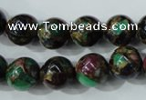 CGO05 15.5 inches 12mm round gold multi-color stone beads