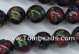 CGO07 15.5 inches 16mm round gold multi-color stone beads