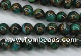CGO101 15.5 inches 6mm round gold green color stone beads