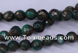 CGO111 15.5 inches 6mm faceted round gold green color stone beads