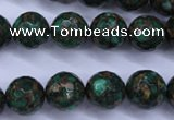CGO115 15.5 inches 14mm faceted round gold green color stone beads
