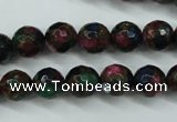 CGO15 15.5 inches 12mm faceted round gold multi-color stone beads